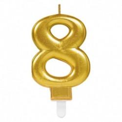 Candela Numero 8 Oro 8 cm