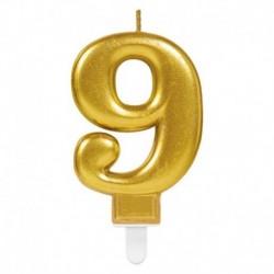 Candela Numero 9 Oro 8 cm