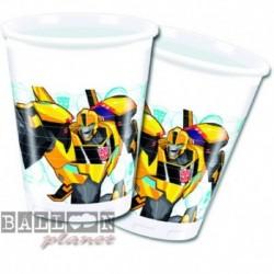 8 Bicchieri Plastica Transformers 200 ml