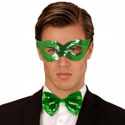 Maschera Tessuto Paillettes Verdi