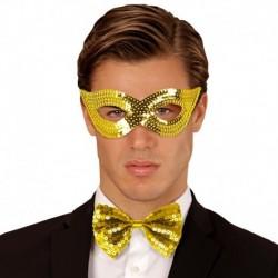 Maschera Tessuto Paillettes Oro