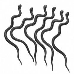 6 Serpenti Neri Modellabili 13 cm