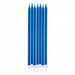 12 Candeline Matita Blu Elettrico 15 cm
