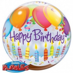 Pallone Bubble Happy Birthday 50 cm