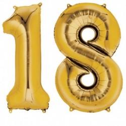 Set Palloni Numero 18 Anni Oro 90 cm
