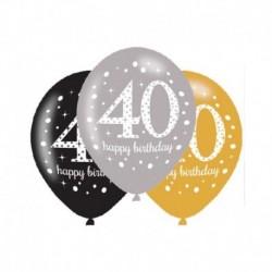 6 Palloncini Lattice 40 Anni 28 cm