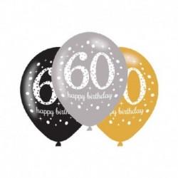 6 Palloncini Lattice 60 Anni 28 cm