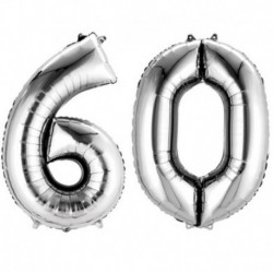 Set Palloni 60 Anni Argento 90 cm