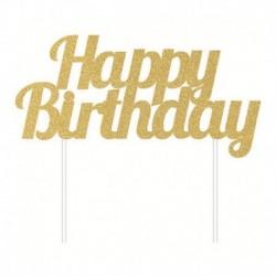 Decorazione Torta Happy Birthday Oro 15x17 cm