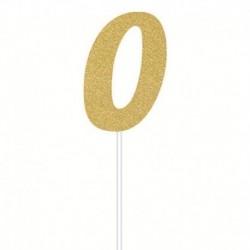 Deco Torta Numero 0 Oro 15 cm