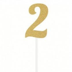 Deco Torta Numero 2 Oro 15 cm