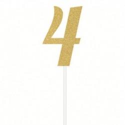 Deco Torta Numero 4 Oro 15 cm