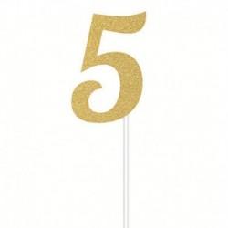 Deco Torta Numero 5 Oro 15 cm