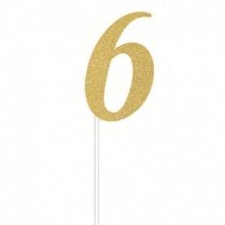Deco Torta Numero 6 Oro 15 cm