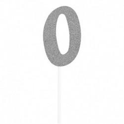 Deco Torta Numero 0 Argento 15 cm