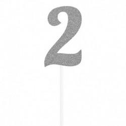 Deco Torta Numero 2 Argento 15 cm