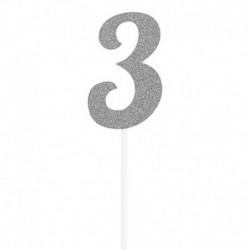 Deco Torta Numero 3 Argento 15 cm