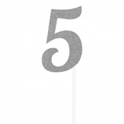 Deco Torta Numero 5 Argento 15 cm