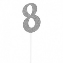 Deco Torta Numero 8 Argento 15 cm