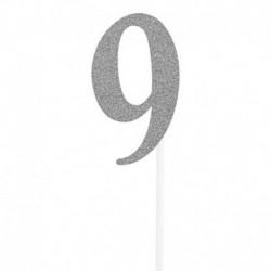 Deco Torta Numero 9 Argento 15 cm