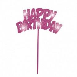 Deco Torta Happy Birthday Rosa 20x13 cm