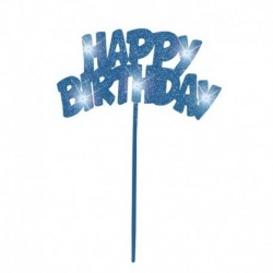 Deco Torta Happy Birthday Azzurra 20x13 cm