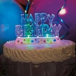 Deco Torta Happy Birthday Luminosa 12x8 cm.