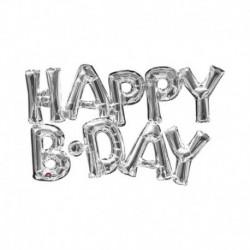 Pallone Scritta Happy Bday Argento 75 cm