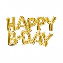 Pallone Scritta Happy Bday Oro 75 cm