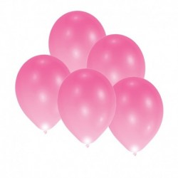 5 Palloncini Led Rosa 27 cm