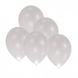 5 Palloncini Led Argento 27 cm