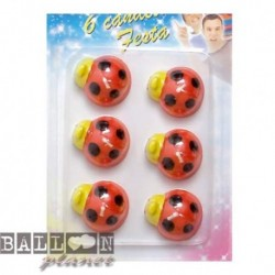 6 Candeline Coccinelle 4 cm