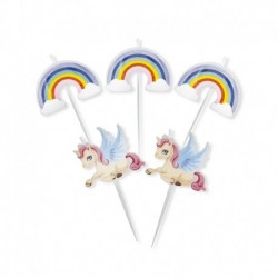 5 Candeline Picks Unicorni 4x7 cm