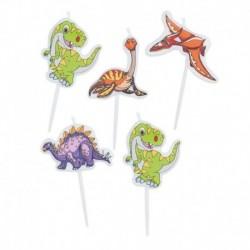 5 Candeline Picks Dinosauri 8 cm
