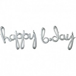 Pallone Happy Birthday Argento 190x68 cm
