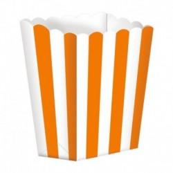 5 Contenitori Popcorn Arancio 9x13 cm