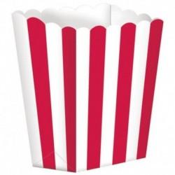 5 Contenitori Popcorn Rossi 9x13 cm