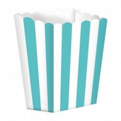 5 Contenitori Popcorn Verde Acqua 9x13 cm