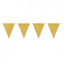 Festone Bandierine Oro Glitter 6 mt