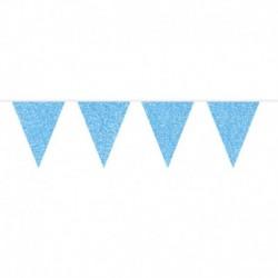 Festone Bandierine Azzurro Glitter 6 mt