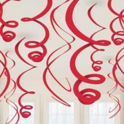 12 Decorazioni Swirl Rosse 55 cm