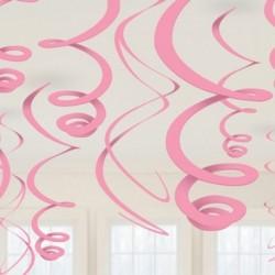 12 Decorazioni Swirl Rosa 55 cm