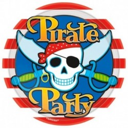 8 Piatti Tondi carta Pirati 23 cm
