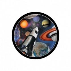 8 Piatti Tondi Carta Space Blast 18 cm