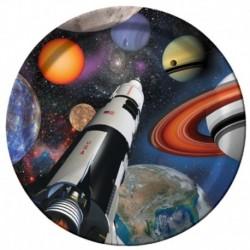 8 Piatti Tondi Carta Space Blast 23 cm