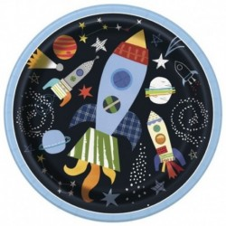 8 Piatti Tondi Carta Outer Space 23 cm