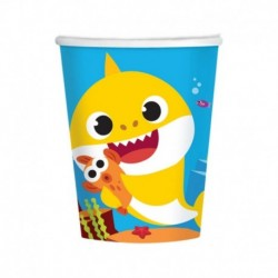8 Bicchieri Carta Baby Shark 266 ml