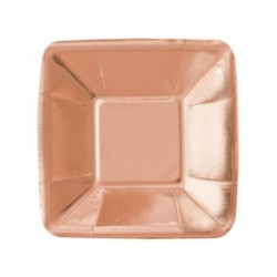 8 Piatti Quadrati Carta Rose Gold 12 cm