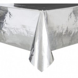 Tovaglia Plastica Argento Metallizzato 137x274 cm