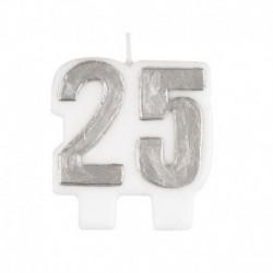 Candela Numero 25 Argento 5,5 cm